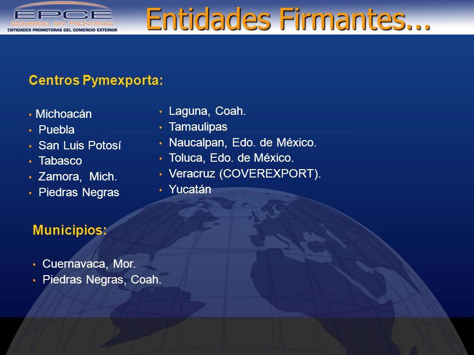 Entidades Firmantes... Centros Pymexporta: Municipios: Michoacán