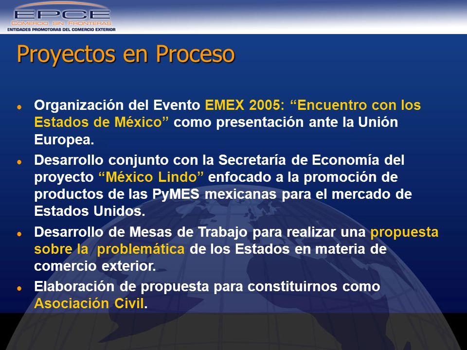Proyectos en Proceso Organización del Evento EMEX 2005: Encuentro con los Estados de México como presentación ante la Unión Europea.