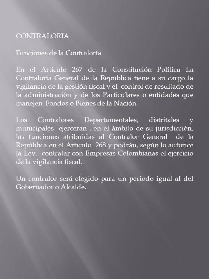 CONTRALORIA Funciones de la Contraloría.