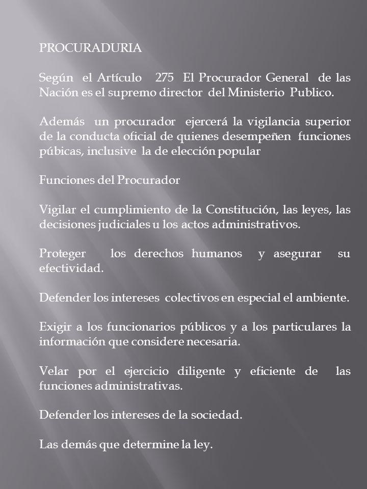 PROCURADURIA Según el Artículo 275 El Procurador General de las Nación es el supremo director del Ministerio Publico.