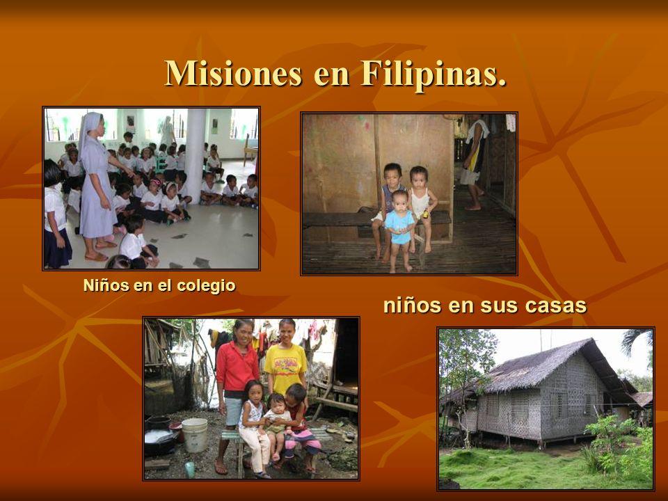 Misiones en Filipinas. Niños en el colegio niños en sus casas