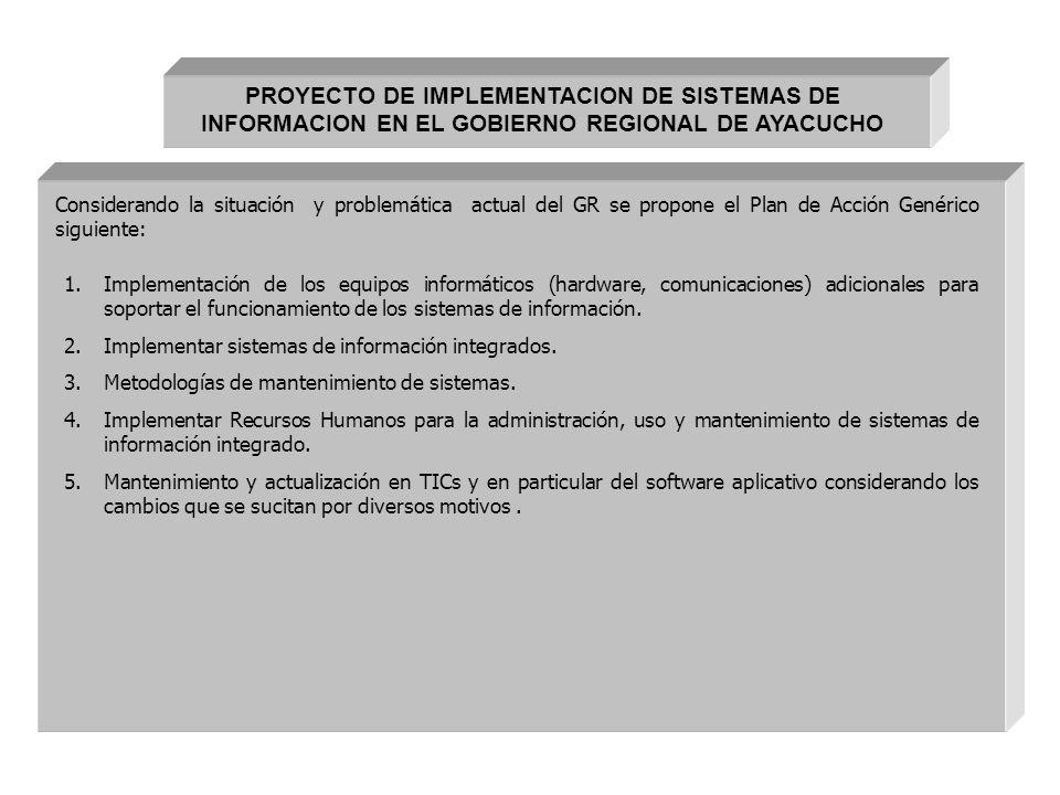 PROYECTO DE IMPLEMENTACION DE SISTEMAS DE INFORMACION EN EL GOBIERNO REGIONAL DE AYACUCHO
