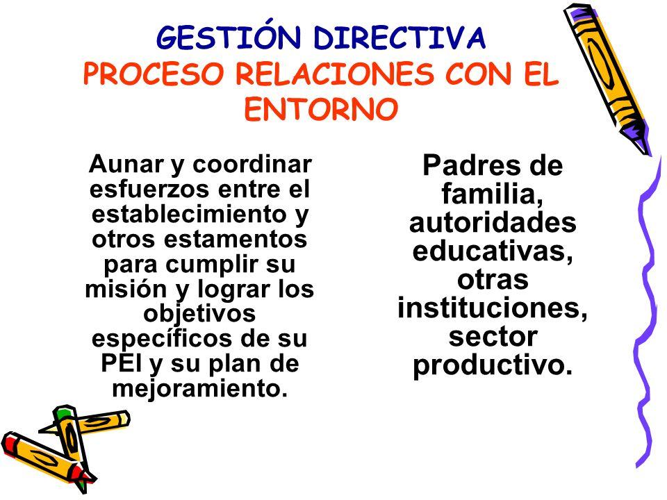 GESTIÓN DIRECTIVA PROCESO RELACIONES CON EL ENTORNO