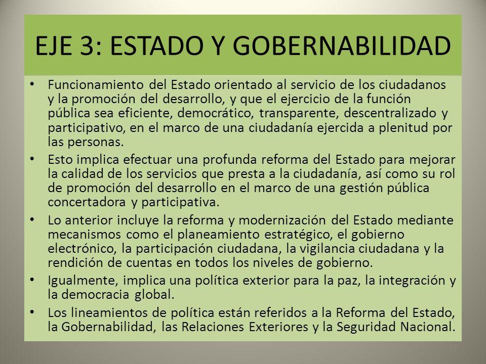 EJE 3: ESTADO Y GOBERNABILIDAD