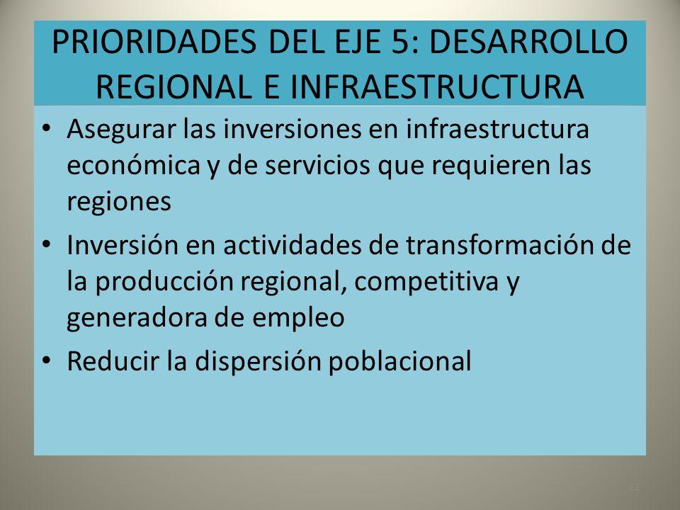 PRIORIDADES DEL EJE 5: DESARROLLO REGIONAL E INFRAESTRUCTURA