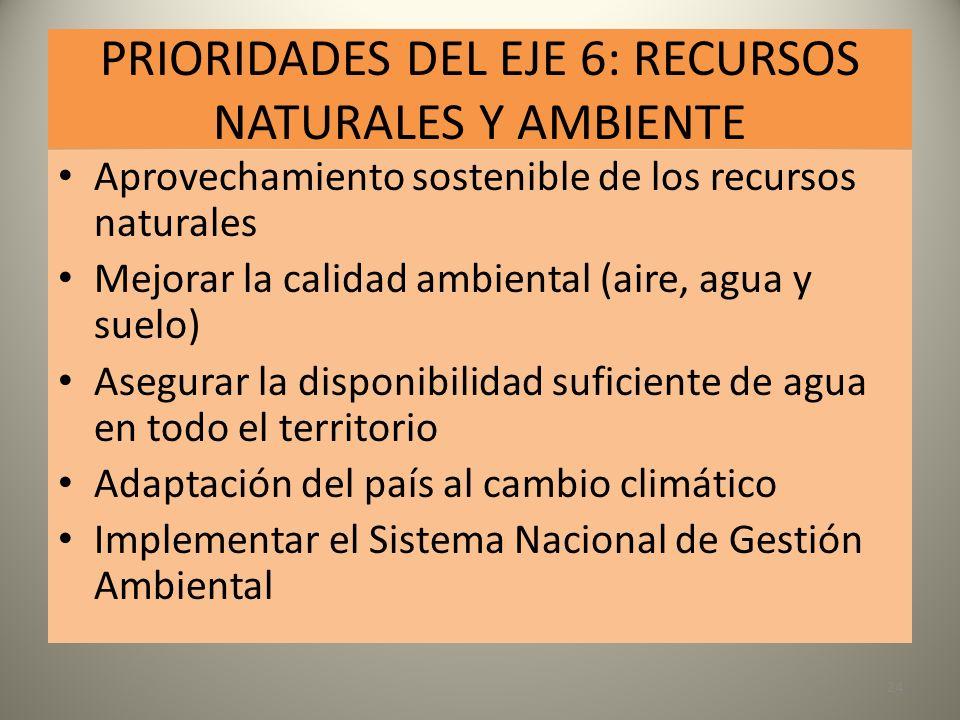 PRIORIDADES DEL EJE 6: RECURSOS NATURALES Y AMBIENTE