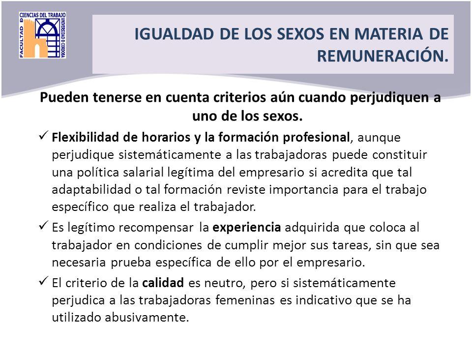 IGUALDAD DE LOS SEXOS EN MATERIA DE REMUNERACIÓN.