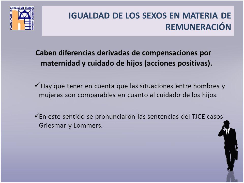 IGUALDAD DE LOS SEXOS EN MATERIA DE REMUNERACIÓN