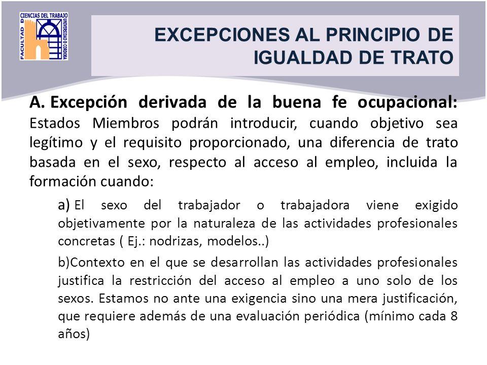 Title EXCEPCIONES AL PRINCIPIO DE IGUALDAD DE TRATO