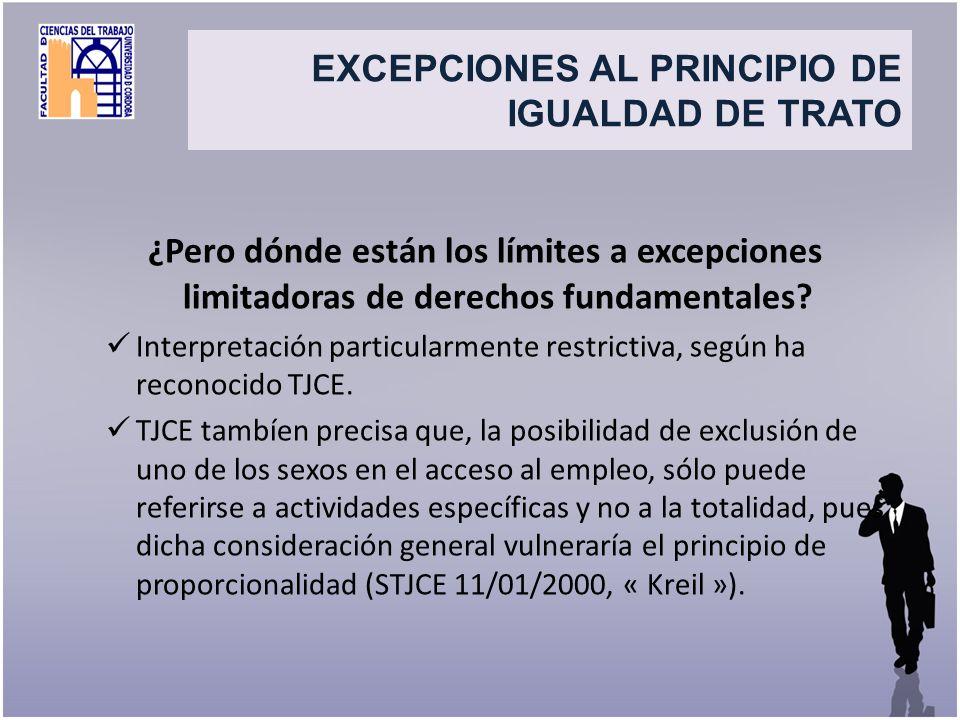 Title EXCEPCIONES AL PRINCIPIO DE IGUALDAD DE TRATO. ¿Pero dónde están los límites a excepciones limitadoras de derechos fundamentales