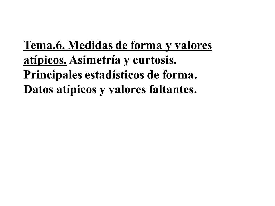 Tema. 6. Medidas de forma y valores atípicos. Asimetría y curtosis