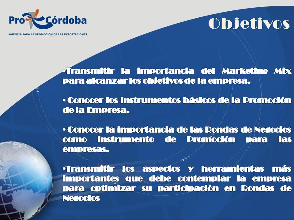 Objetivos Transmitir la importancia del Marketing Mix para alcanzar los objetivos de la empresa.