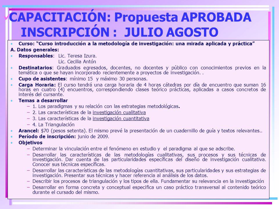 CAPACITACIÓN: Propuesta APROBADA INSCRIPCIÓN : JULIO AGOSTO