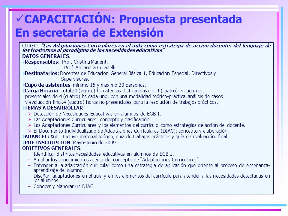 CAPACITACIÓN: Propuesta presentada En secretaría de Extensión