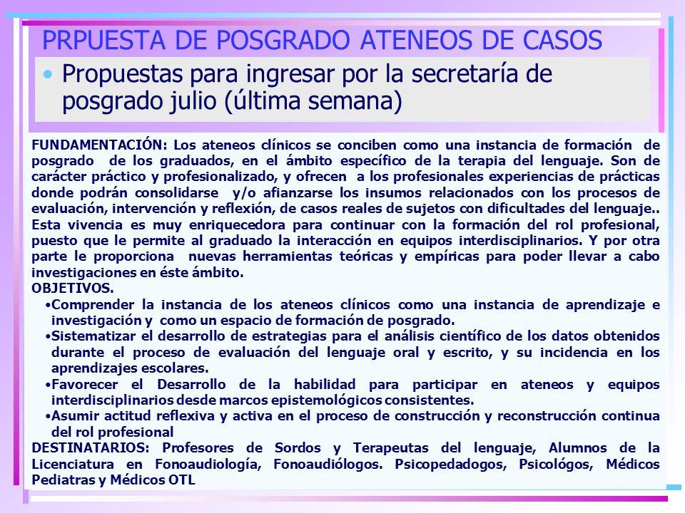 PRPUESTA DE POSGRADO ATENEOS DE CASOS