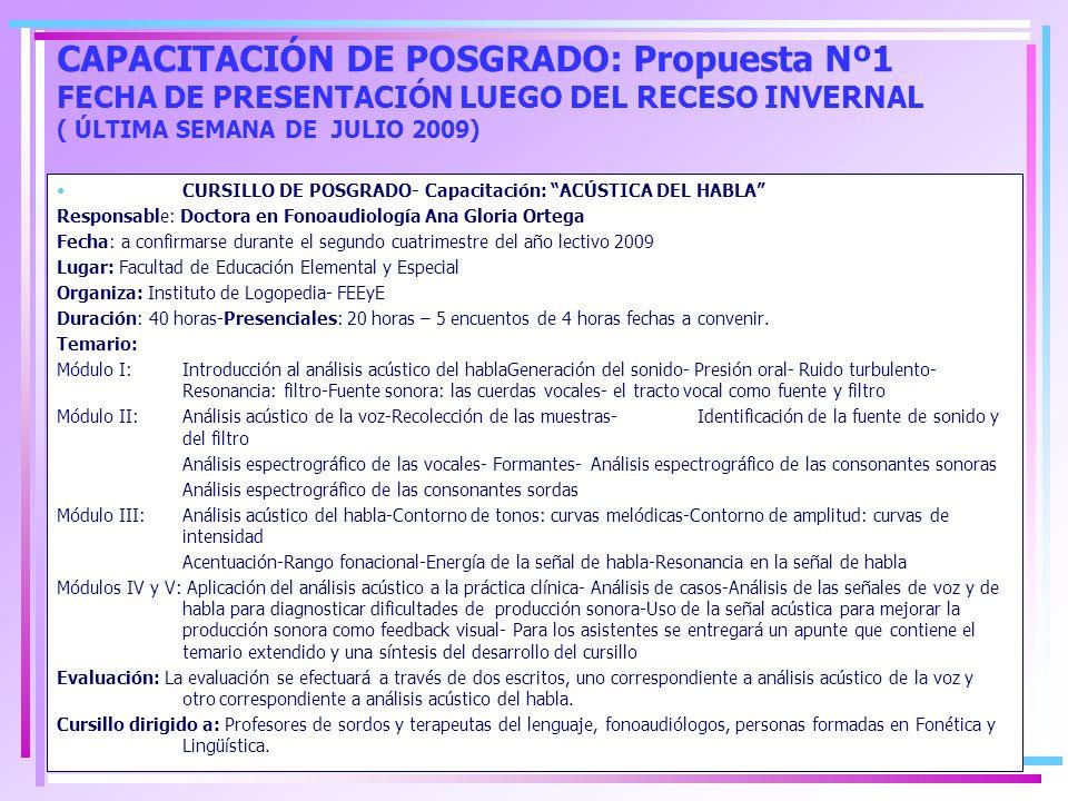 CAPACITACIÓN DE POSGRADO: Propuesta Nº1