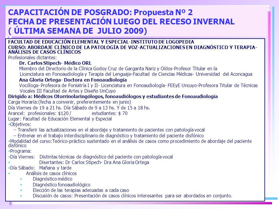 CAPACITACIÓN DE POSGRADO: Propuesta Nº 2