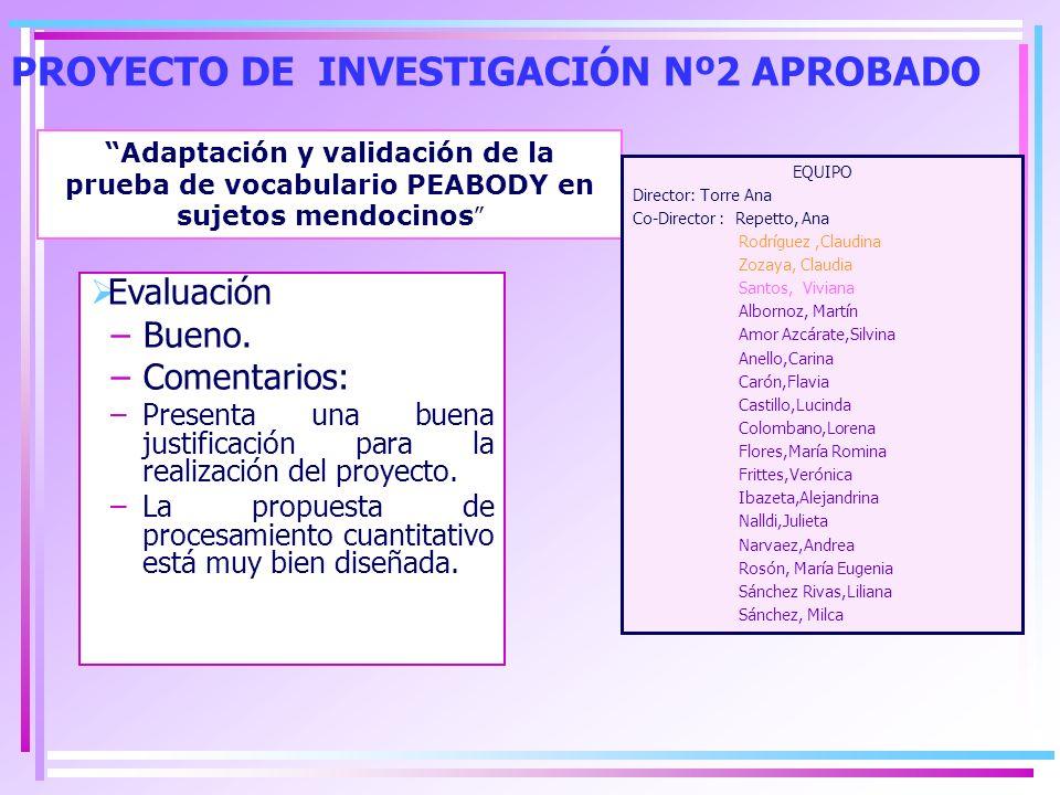 PROYECTO DE INVESTIGACIÓN Nº2 APROBADO