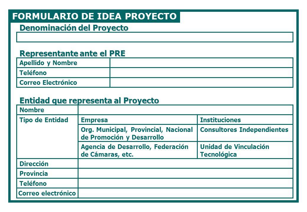 FORMULARIO DE IDEA PROYECTO