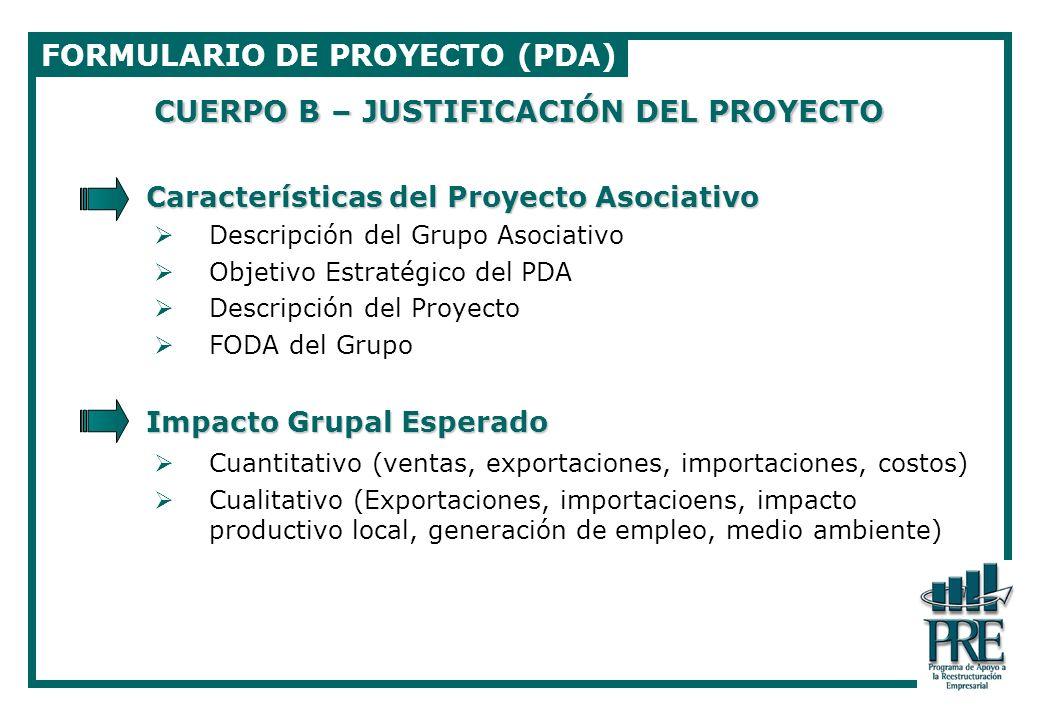 FORMULARIO DE PROYECTO (PDA)