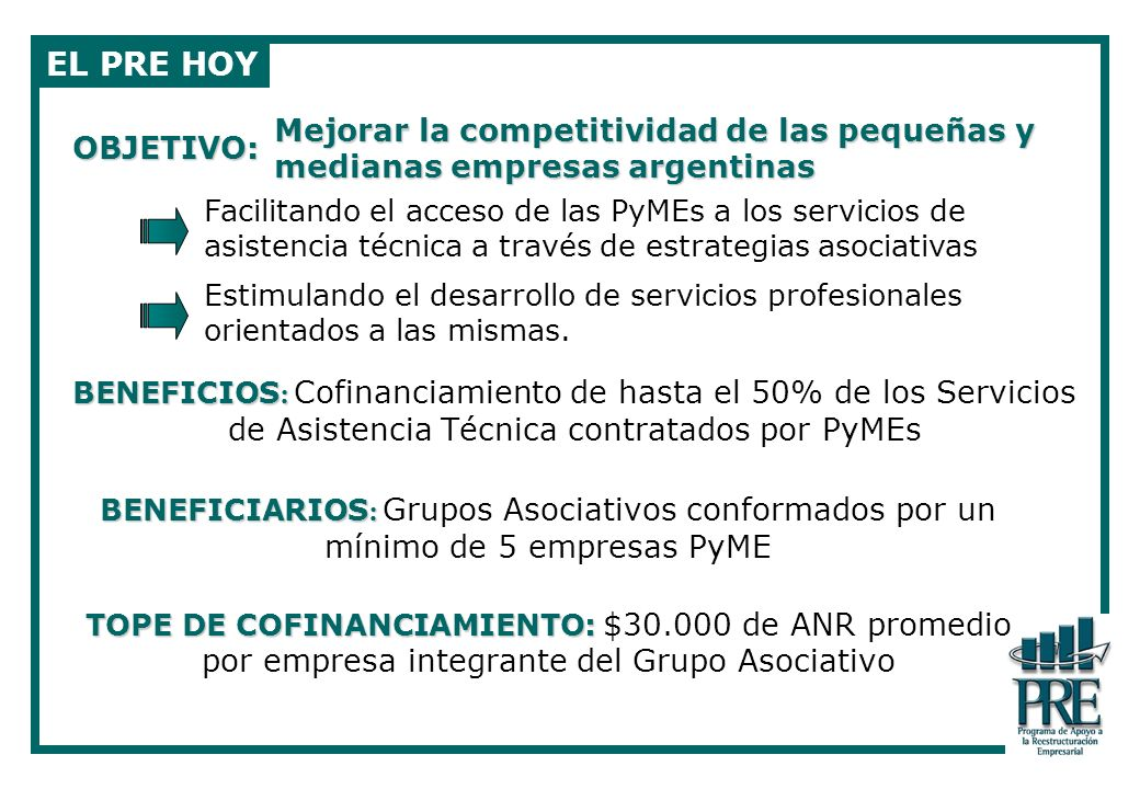 EL PRE HOYMejorar la competitividad de las pequeñas y medianas empresas argentinas. OBJETIVO: