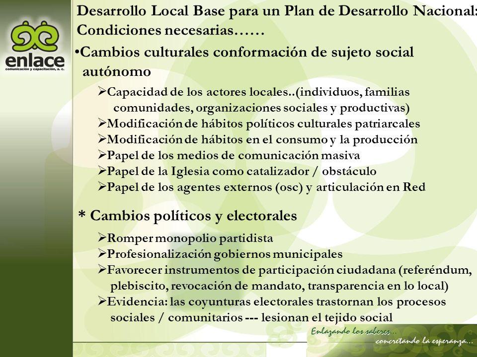 Desarrollo Local Base para un Plan de Desarrollo Nacional: