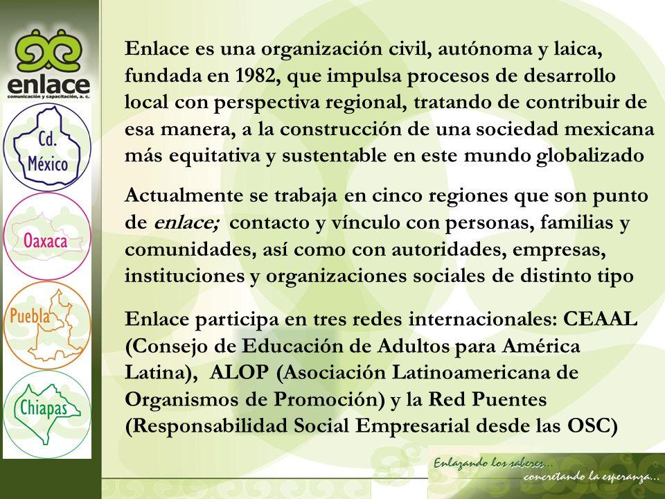 Enlace es una organización civil, autónoma y laica, fundada en 1982, que impulsa procesos de desarrollo local con perspectiva regional, tratando de contribuir de esa manera, a la construcción de una sociedad mexicana