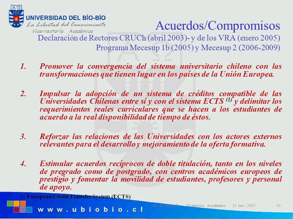 Acuerdos/Compromisos Declaración de Rectores CRUCh (abril 2003)- y de los VRA (enero 2005) Programa Mecesup 1b (2005) y Mecesup 2 (2006-2009)