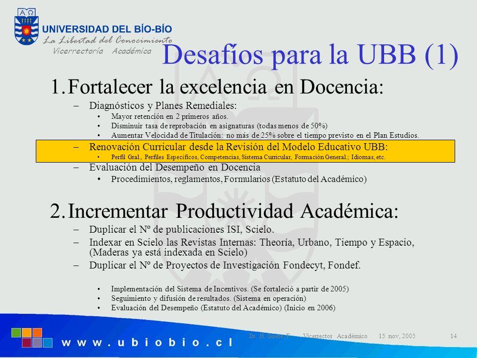 Desafíos para la UBB (1) Fortalecer la excelencia en Docencia: