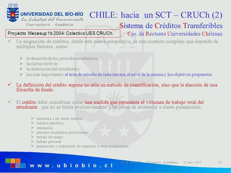 CHILE: hacia un SCT – CRUCh (2) Sistema de Créditos Transferibles Cjo