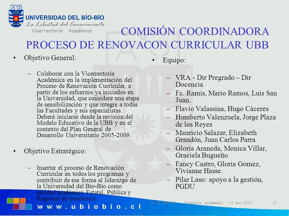 COMISIÓN COORDINADORA PROCESO DE RENOVACON CURRICULAR UBB