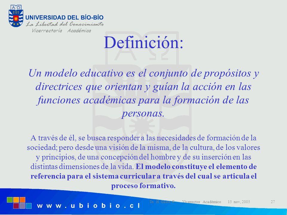 Definición: Un modelo educativo es el conjunto de propósitos y directrices que orientan y guían la acción en las funciones académicas para la formación de las personas. A través de él, se busca responder a las necesidades de formación de la sociedad; pero desde una visión de la misma, de la cultura, de los valores y principios, de una concepción del hombre y de su inserción en las distintas dimensiones de la vida. El modelo constituye el elemento de referencia para el sistema curricular a través del cual se articula el proceso formativo.