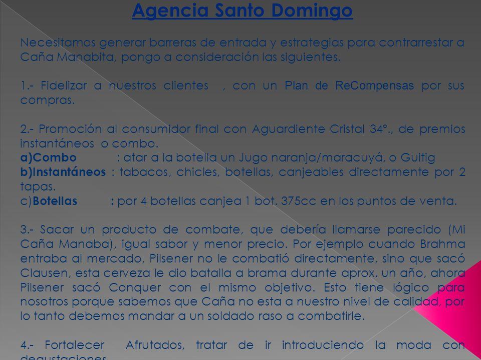 Agencia Santo Domingo Necesitamos generar barreras de entrada y estrategias para contrarrestar a Caña Manabita, pongo a consideración las siguientes.
