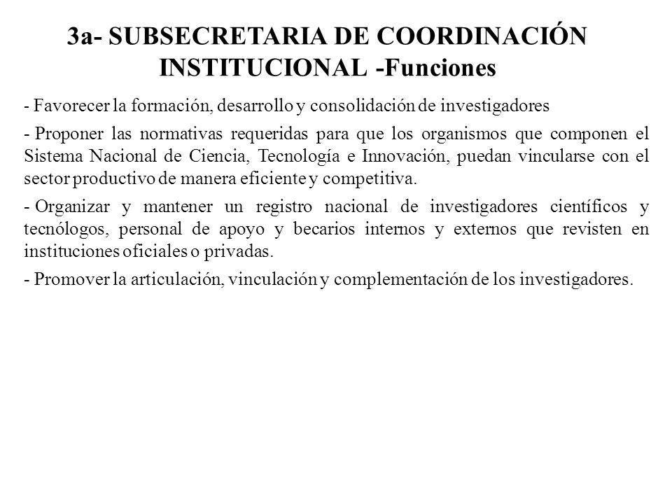 3a- SUBSECRETARIA DE COORDINACIÓN INSTITUCIONAL -Funciones