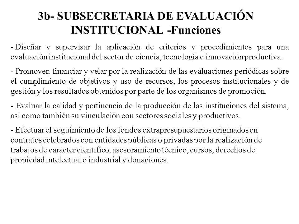 3b- SUBSECRETARIA DE EVALUACIÓN INSTITUCIONAL -Funciones