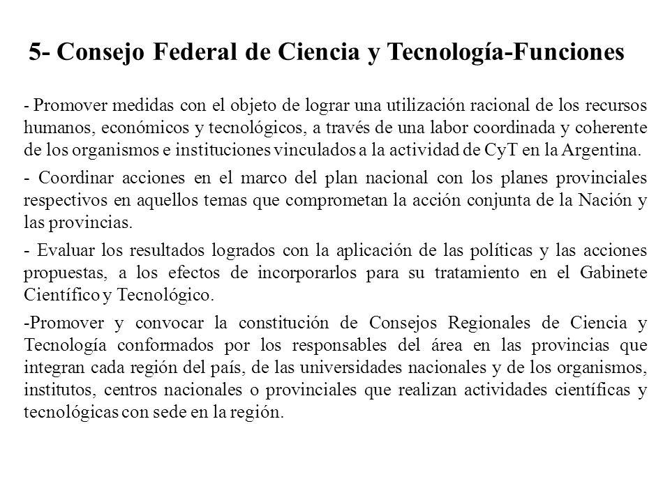 5- Consejo Federal de Ciencia y Tecnología-Funciones