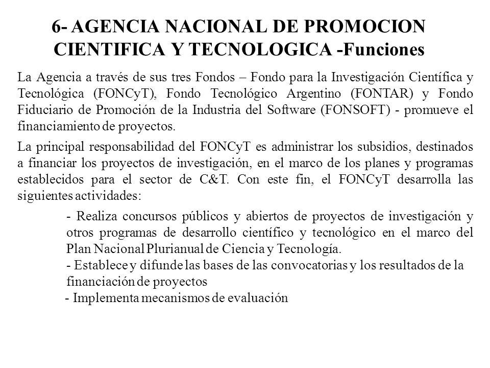 6- AGENCIA NACIONAL DE PROMOCION CIENTIFICA Y TECNOLOGICA -Funciones