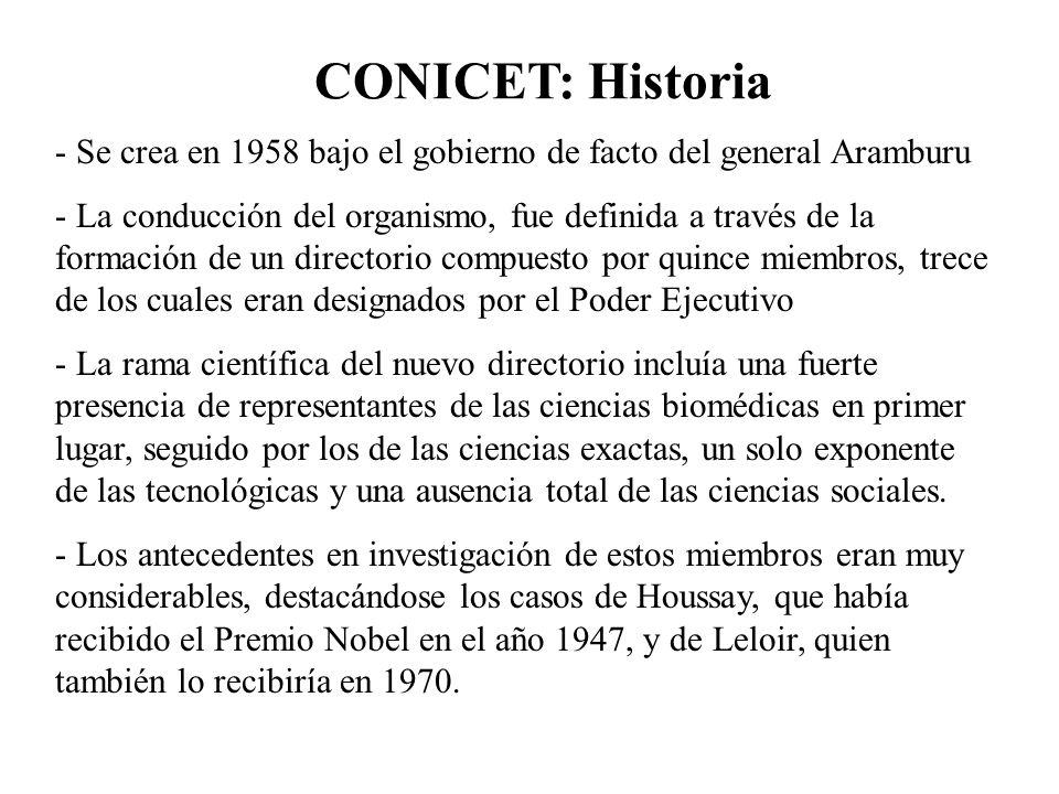 CONICET: Historia Se crea en 1958 bajo el gobierno de facto del general Aramburu.