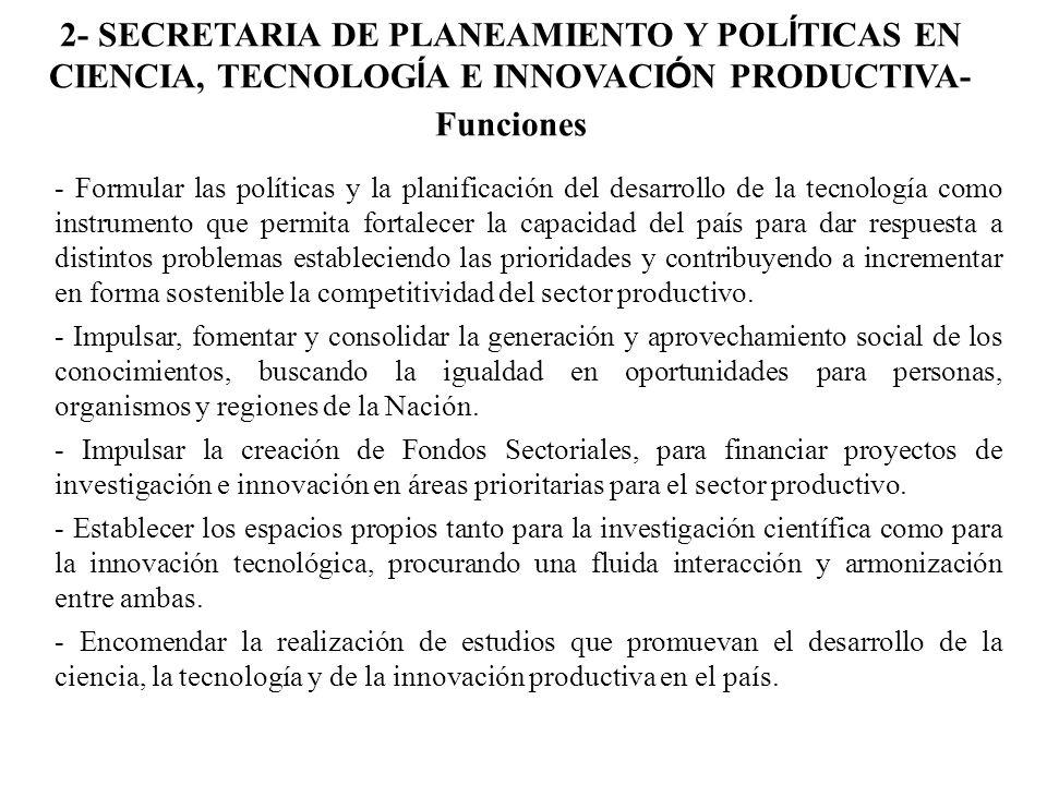 2- SECRETARIA DE PLANEAMIENTO Y POLÍTICAS EN CIENCIA, TECNOLOGÍA E INNOVACIÓN PRODUCTIVA-Funciones