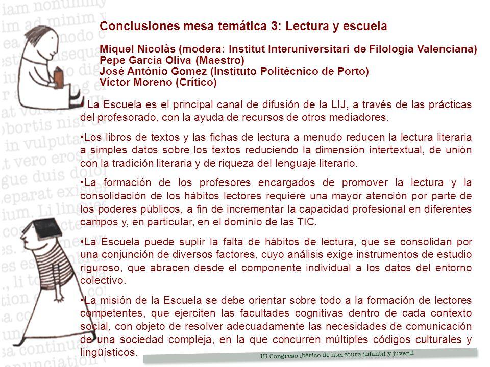 Conclusiones mesa temática 3: Lectura y escuela