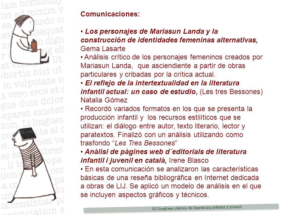 Comunicaciones: Los personajes de Mariasun Landa y la construcción de identidades femeninas alternativas, Gema Lasarte.