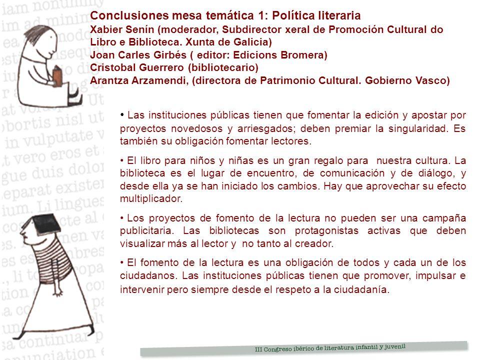 Conclusiones mesa temática 1: Política literaria