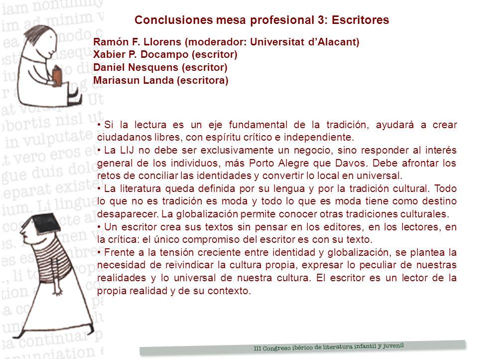 Conclusiones mesa profesional 3: Escritores