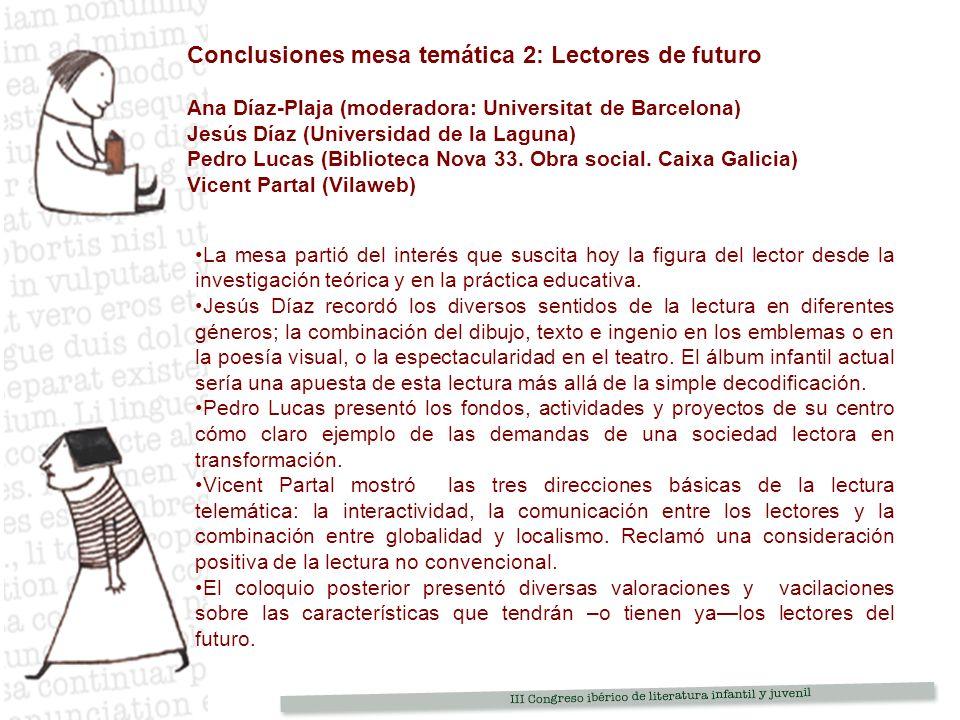 Conclusiones mesa temática 2: Lectores de futuro