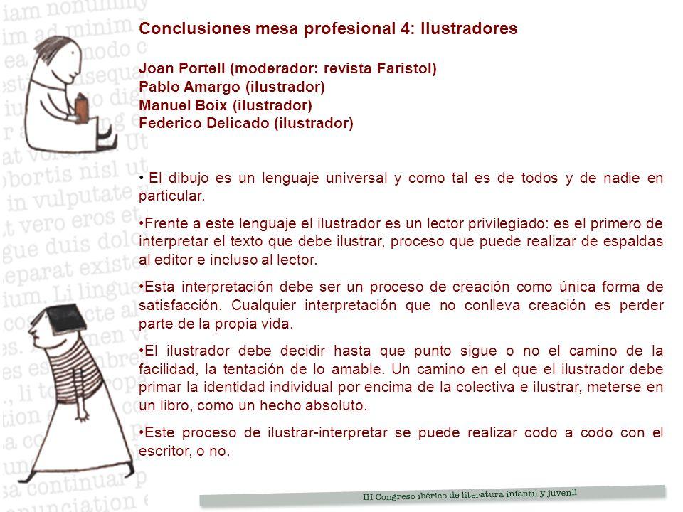 Conclusiones mesa profesional 4: Ilustradores