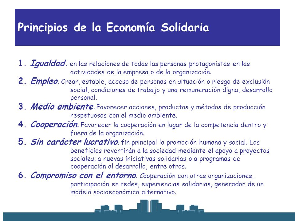 Principios de la Economía Solidaria