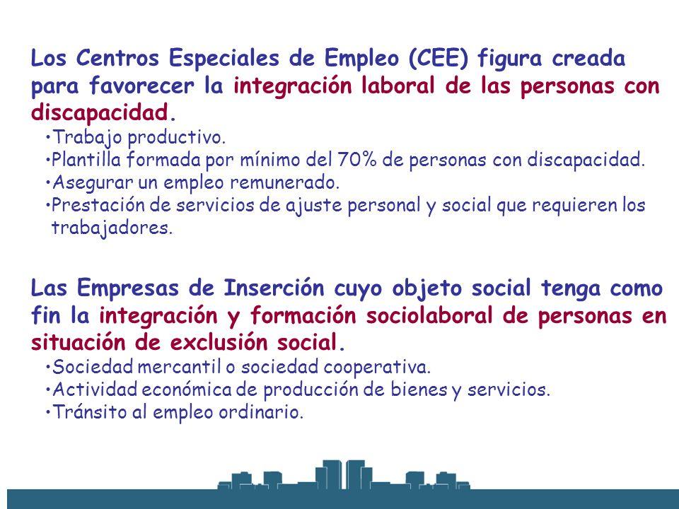 Los Centros Especiales de Empleo (CEE) figura creada para favorecer la integración laboral de las personas con discapacidad.