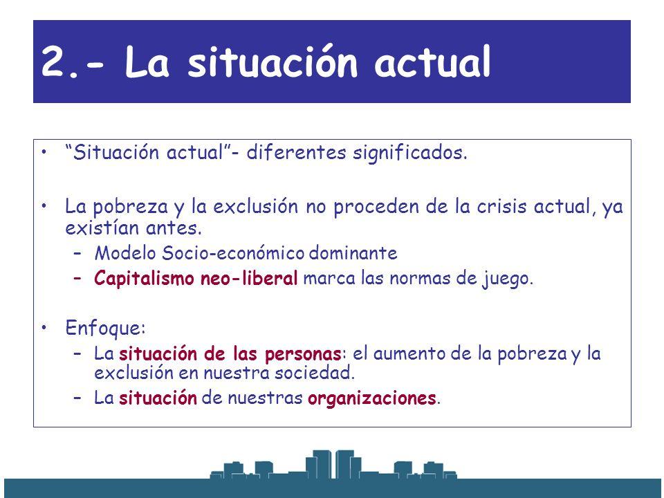 2.- La situación actual Situación actual - diferentes significados.