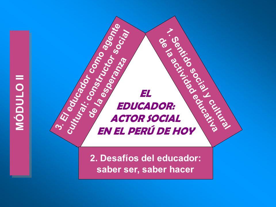MÓDULO II EL EDUCADOR: ACTOR SOCIAL EN EL PERÚ DE HOY