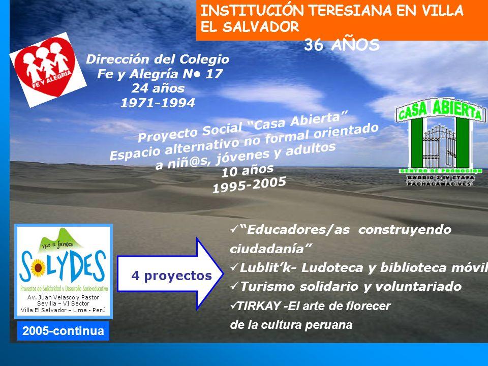 36 AÑOS INSTITUCIÓN TERESIANA EN VILLA EL SALVADOR